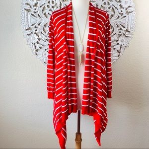 {Lafayette 148} Red Striped Open-Front Cardigan